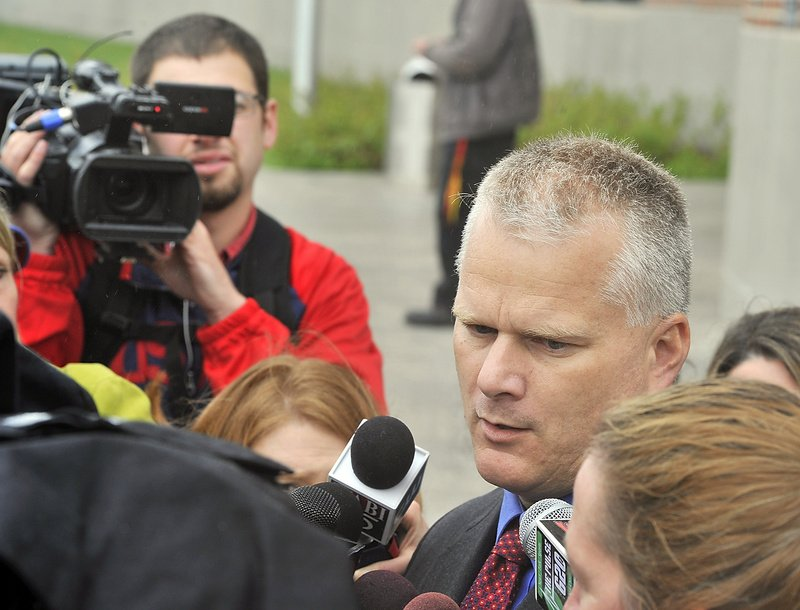 Kyle Dube's attorney, Stephen Smith, talks to the media Wednesday, May 22, 2013 after Dube was arraigned in Penobscot County Superior Court for allegedly killing 15-year-old Nichole Cable. An objection to a judge's decision to seal a police affidavit in the killing of Cable has been filed by a lawyer for the Portland Press Herald/Maine Sunday Telegram, and The Associated Press.