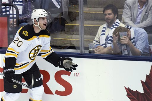Boston Bruins forward Daniel Paille celebrates his goal as Toronto Maple Leafs fans react during the second period of Game 3 of their first-round NHL hockey Stanley Cup playoff series, Monday, May 6, 2013, in Toronto. (AP Photo/The Canadian Press, Nathan Denette) Canada;Canadian;sports;play;ice hockey;game;action;competitive;competition;compete;athletics;athletic;athlete;National;League;hockey;NHL;2013