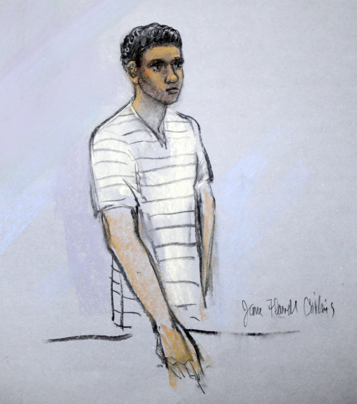 This courtroom sketch shows defendant Robel Phillipos when he appeared in federal court in Boston, Mass., on May 1.
