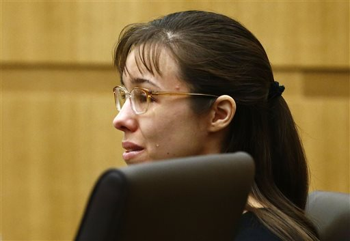 "Jodi Arias cries as Steven Alexander, brother of murder victim Travis Alexander, makes his ""victim impact statement"" to the jury Thursday at Maricopa County Superior Court in Phoenix."