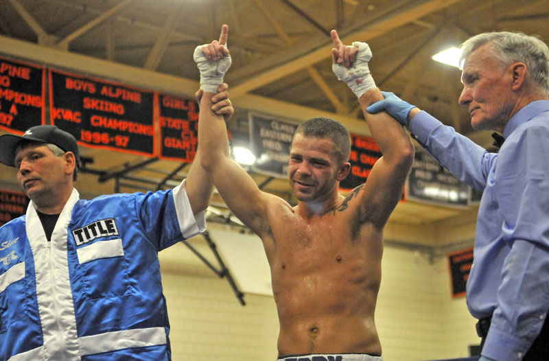 "Brandon ""The Cannon"" Berry, won his professional boxing debut Saturday night, at Skowhegan Area High School."