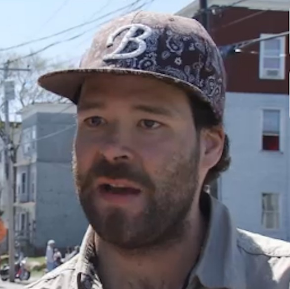 This photo is of Brian Morin, 29, one of the suspects in Monday's fire in downtown Lewiston. It is a still image taken from a WGME video interview on Monday, May 6, 2013, hours after the fire.