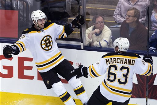Boston Bruins forward David Krejci, left, celebrates his winning goal past Toronto Maple Leafs goalie James Reimer with forward Brand Marchand, right, during overtime of Game 4 of their NHL hockey Stanley Cup playoff series, Wednesday, May 8, 2013, in Toronto. The Bruins won 4-3. (AP Photo/The Canadian Press, Nathan Denette) jhockey;NHL;athlete;athletes;athletic;athletics;Canada;Canadian;competative;compete;competing;competition;competitions;game;games;League;National;play;player;playing;pro;professional;sport;sporting;sports;team;Leafs;Toronto