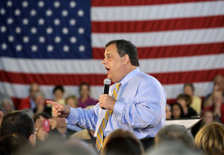 FILE - New Jersey Gov. Chris Christie answers a question in this April 30, 2013 file photo taken in Long Beach Township, N.J., during a town hall meeting. Christie secretly underwent gastric band surgery in February to try to lose weight at the urging of his family. Christie told The New York Post for a story in Tuesday's May 7, 2013 edition. (AP Photo/Mel Evans, File)