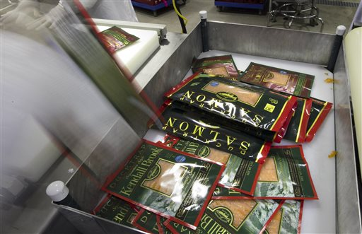 """Freshly packaged smoked salmon at the Ducktrap River company. """"Our sales have increased to the point where we can't keep up,"""" says Don Cynewski, the company's general manager."""