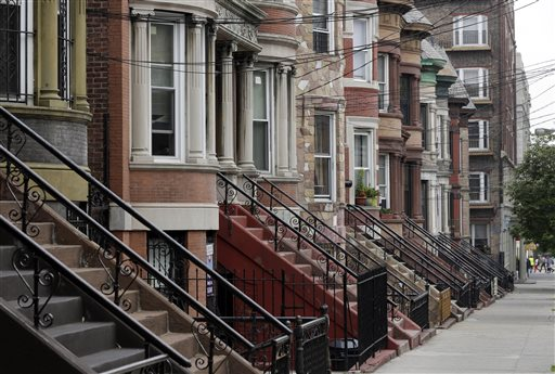 Manicured homes line a street in the Longwood Historic District, in The Bronx borough of New York.