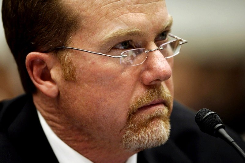 In this March 17, 2005 file photo, former Major League baseball player Mark McGwire testifies on Capitol Hill in Washington during a hearing on the use of steroids in professional baseball. Lois Lerner of the IRS joins a diverse roll call of people who have invoked their Fifth Amendment right not to answer lawmakers' questions over the years. McGwire, sometimes choking back tears, wouldn't say whether he had used steroids while hitting a then-record 70 home runs in the 1998 season. McGwire later admitted use of steroids and human growth hormone. (AP Photo/Gerald Herbert, File)