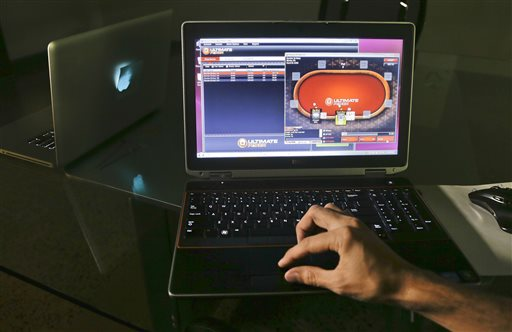 A sample poker game is played on the Ultimate Gaming website. The social gaming company launched the first legal, real-money poker site in the U.S. Tuesday morning. The Ultimate Gaming site will be available only to in players in Nevada, but likely represents the shape of things to come for gamblers across the country.