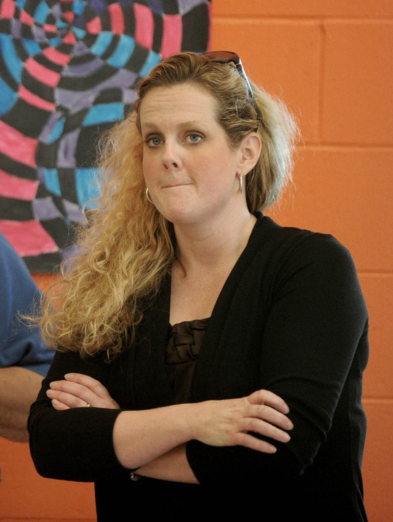 Erika Russell at Messalonskee High School was among those who spoke during a special school board meeting at Messalonskee Junior High School in Oakland on Thursday.