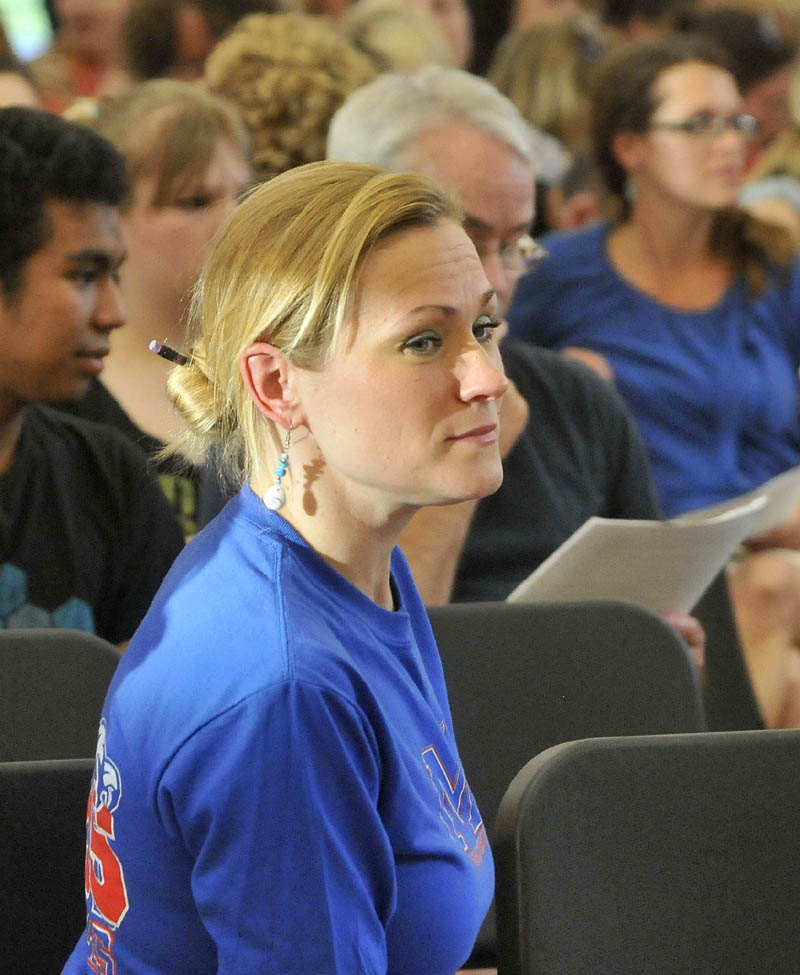 Tamara Wener at Messalonskee High School during a special school board meeting at Messalonskee Junior High School in Oakland on Thursday.