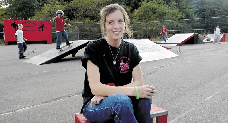 Suzanne Lamb at the Damon Memorial Skateboard Park at the Garret Schenck School in Anson. Lamb helped raise money for the park named after her son, Damon Lasley, who died in 2004.