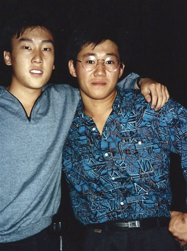 """This 1988 file photo provided by Bobby Lee shows Kenneth Bae, right, and Lee together when they were freshmen students at the University of Oregon. Bae, detained for nearly six months in North Korea, has been sentenced to 15 years of """"compulsory labor"""" for unspecified crimes against the state, Pyongyang announced Thursday."""