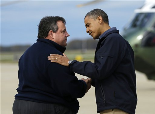 In this Oct. 31, 2012, photo, President Barack Obama is greeted by New Jersey Gov. Chris Christie upon arrival at Atlantic City International Airport in Atlantic City, N.J., to visit areas damaged by Superstorm Sandy.