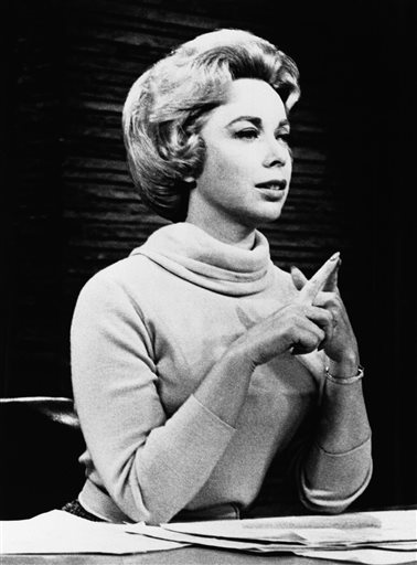 An undated file photo shows Dr. Joyce Brothers in the studio of her direct line radio show. She was criticized by some for giving out advice without knowing her callers' histories, but Brothers responded that she was not practicing therapy on the air and that she advised callers to seek professional help when needed.
