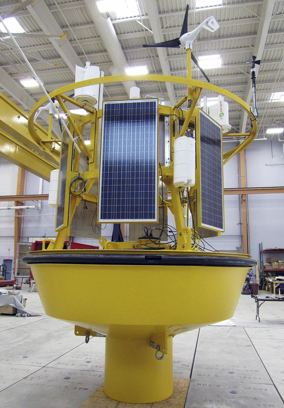 This data-collection buoy will be deployed in the Gulf of Maine in June. The buoy can track wind speeds overhead to determine the suitability of remote ocean.