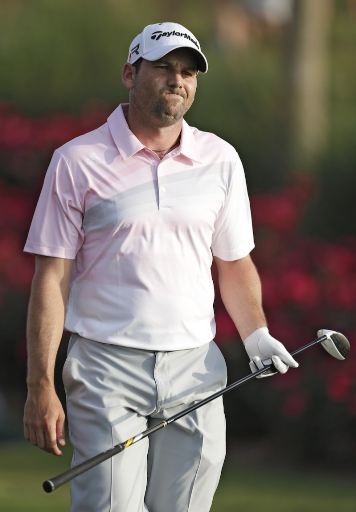 Sergio Garcia of Spain reacts after his tee shot on the 18th hole went into the water Sunday.