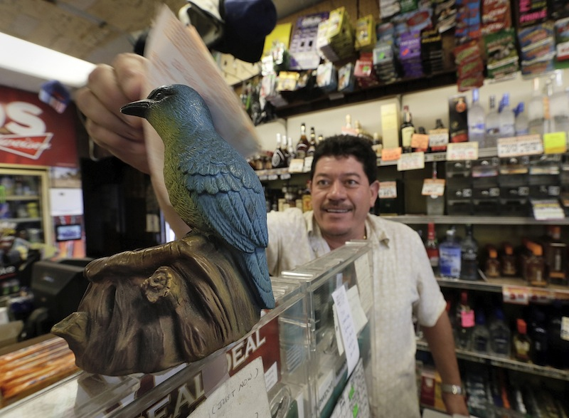 "Ronald Marin rubs his lottery tickets on the wings of a ""bluebird"" statue for good luck at the Bluebird Liquor store in Hawthorne, Calif. Thursday, May 16, 2013. The multi-state lottery's website said the Powerball drawing jackpot has soared to at least $550 million for next drawing to be held Saturday. (AP Photo/Damian Dovarganes)"