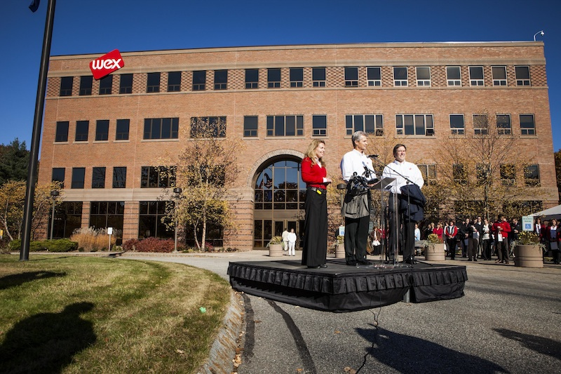 In this Oct. 25, 2012, photo are, from left, Melissa Smith, president, WEX Inc.; Michael E. Dubyak, WEX chairman and CEO; and David Maxsimic, president WEX International.