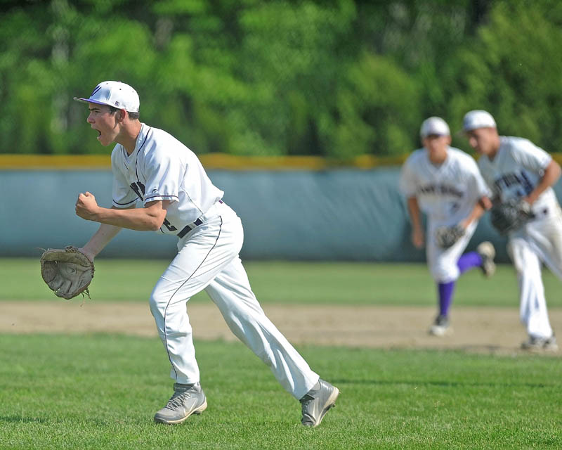 ALL RIGHT: Waterville's Brian Bellows, celebrates after pitching out of a jam in the second inning of the Kennebec Valley Athletic Conference Class B championship game Friday in Winslow. Waterville defeated Winslow 10-0 in six innings.
