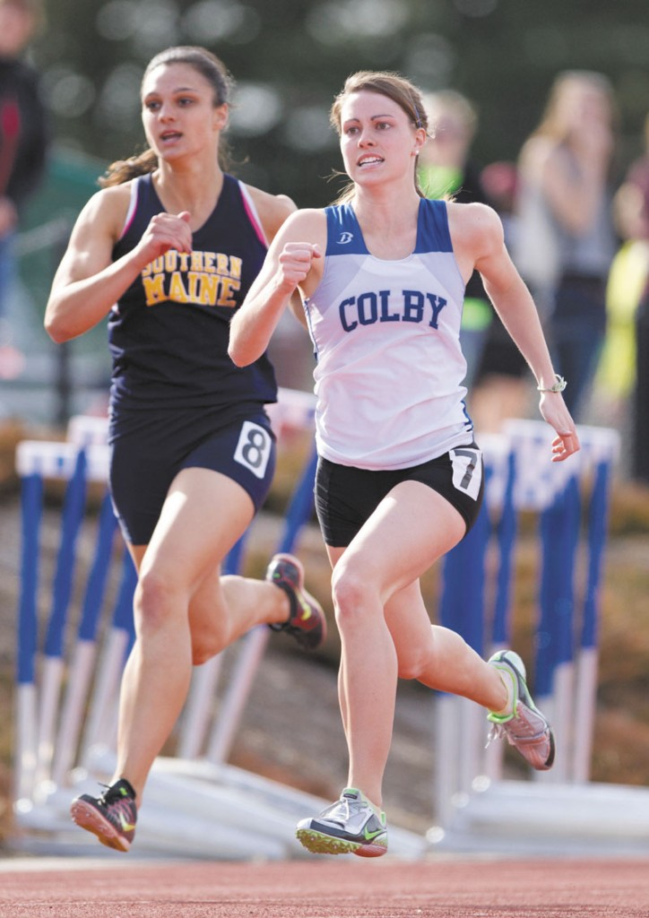 RUNNING FOR IT: Brittney Bell, right, was part of Colby's second-place 1,600-meter relay team at the NCAA Division III championships on Saturday night in La Crosse, Wis.
