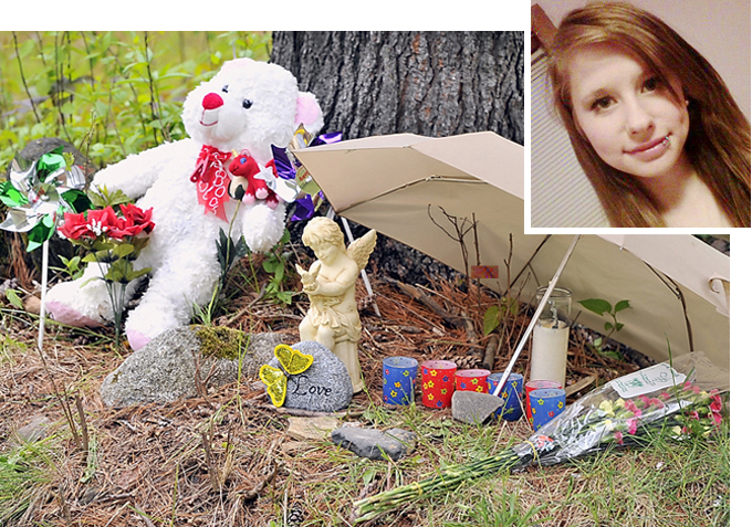In this Tuesday, May 21, 2013 file photo, items of love and remembrance lay at the base of a memorial to Nichol Cable, who was murdered. An affidavit released late Wednesday afternoon alleges that Kyle Dube created a fake Facebook page to lure 15-year-old Nichole Cable from her house