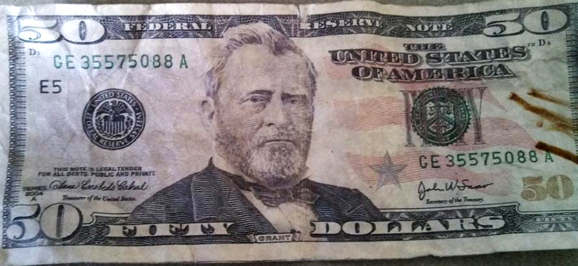 Sanford police provided this example of a counterfeit $50 bill.