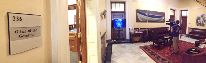 The television stands outside Gov. Paul LePage's office in State House in Augusta.