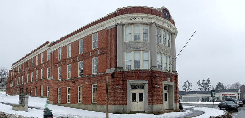 This photo taken on March 1 shows the Cony Flatiron building on Cony Circle in Augusta. Part of a $500,000 federal grant received by the city will aid efforts to redevelop the former high school into elderly housing.