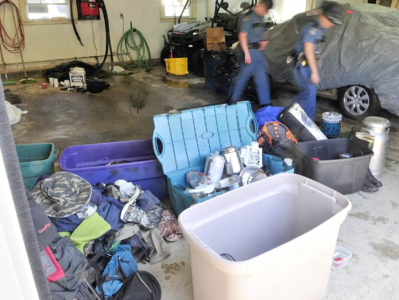 State police displayed items recovered from the campsite of the North Pond Hermit, Christopher Knight, during an event at the Troop C barracks on Saturday in Skowhegan.