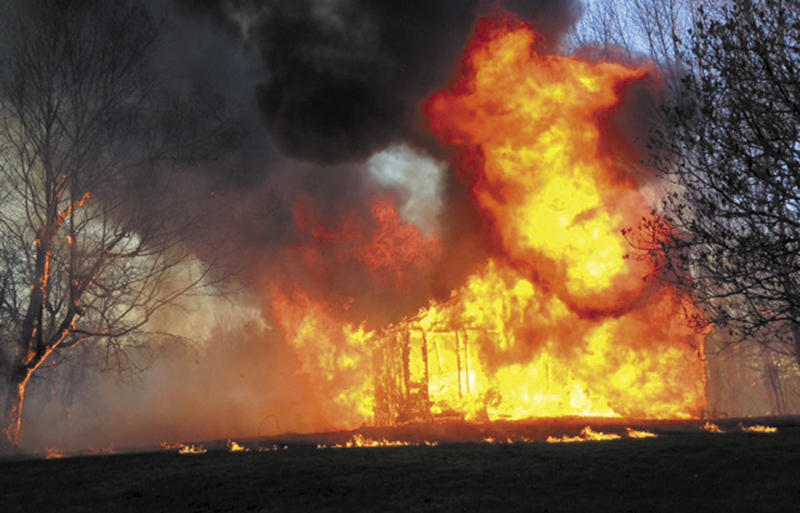 Fire destroyed a former chicken brood house on the Berry Road in Wayne on Saturday.