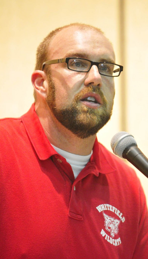 Principal Joshua McNaughton gives opening remarks during the Education Celebration on Friday at Whitefield Elementary School.