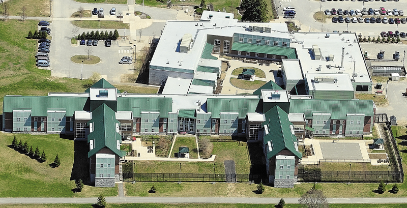 This aerial photo, taken on April 30, shows The Riverview Psychiatric Center on banks of Kennbec River in Augusta.