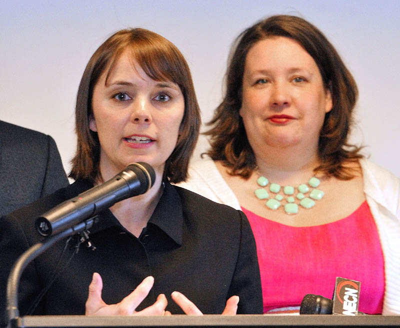 Shenna Bellows, executive director, ACLU of Maine, left, and Rep. Diane Russell (D-Portland) spoke at a news conference about L.D. 1229 on Friday, before a hearing of yhe Joint Standing Committee on Criminal Justice and Public Safety at the State House in Augusta.