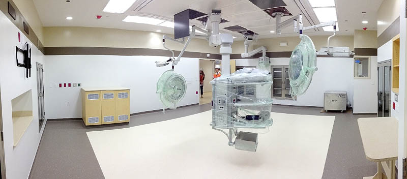 This photo, taken during a tour on Tuesday, shows one of the seven operating rooms at the new MaineGeneral regional hospital in North Augusta.