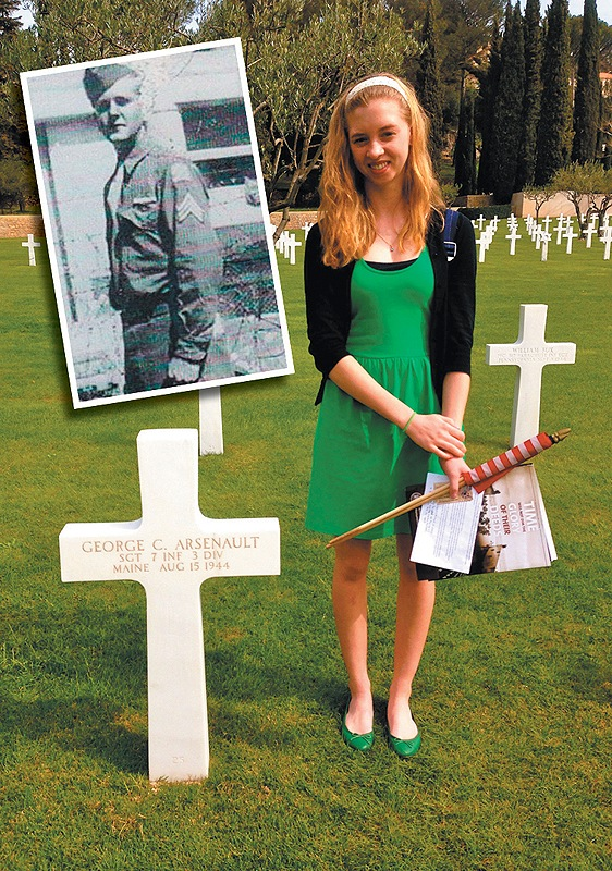 Maranacook High School sophomore Sydney Green stands beside the headstone of Sgt. George C. Arsenault, shown in inset.