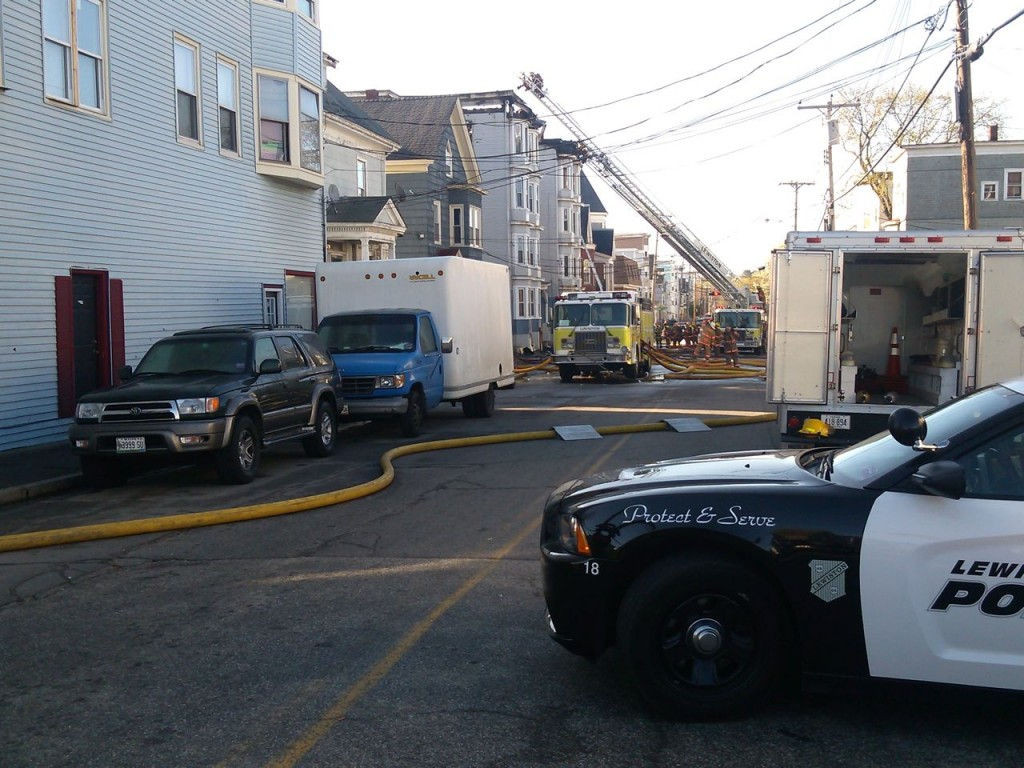 Police and firefighters are on the scene of a three-alarm fire in downtown Lewiston on Monday morning.