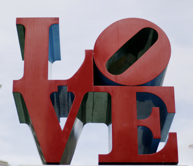 "The Robert Indiana ""Love"" sculpture in Philadelphia. The pop icon with the tilted ""O"" is known worldwide."