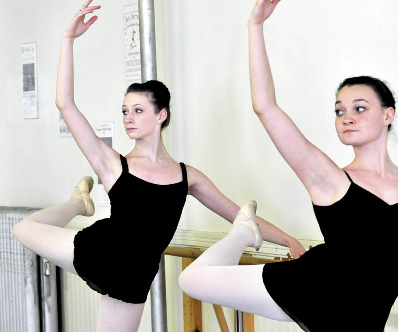 Messlaonskee High School student Gabby Perkins, left, and Sarah Costello practice at the Bossov Ballet Theatre at Maine Central Institute in Pittsfield. Perkins has been chosen to attend the Vaganova Ballet Academy in Russia.