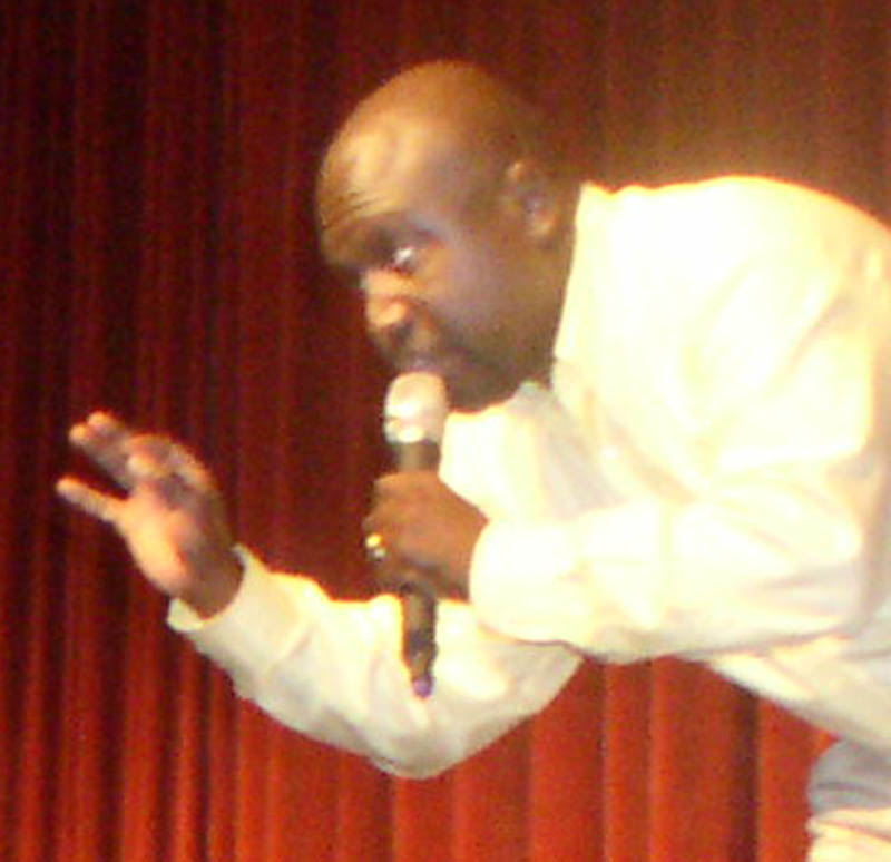 Motivational speaker Patrick George addressed students at Lawrence Junior High School on Friday.