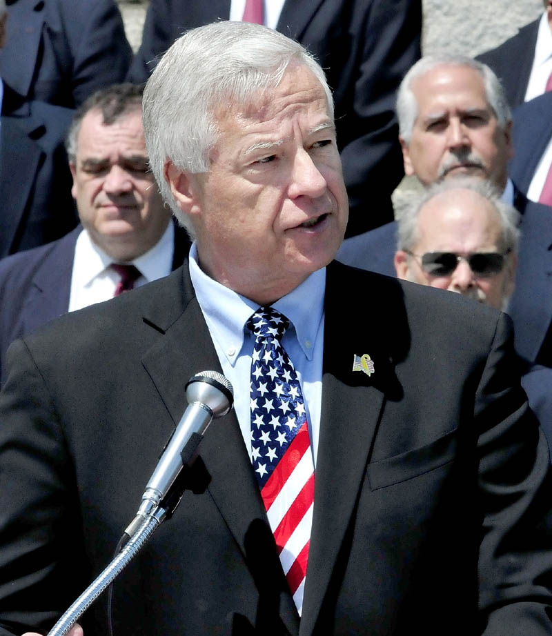U.S. Rep. Michael Michaud, D-2nd District, speaks Sunday at a wreath- laying ceremony honoring veterans, firefighters, police and emergency workers, at St. Francis and Pine Grove cemeteries in Waterville. Michaud, the top-ranking Democrat on the House Veterans Affairs Committee, on Wednesday joined lawmakers on Capitol Hill in pressuring the Pentagon and the Department of Veterans Affairs to address a bureaucratic backlog that has some veterans waiting years to receive disability claims.