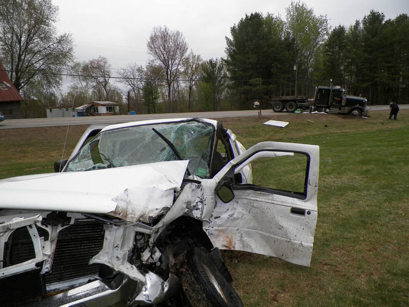 John Pelletier, 62, of New Sharon, was seriously injured when he backed out of his driveway into the path of a tractor-trailer on U.S. Route 2 Thursday.