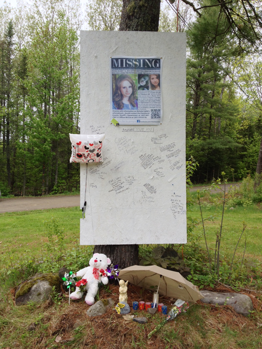 A memorial on Route 221 near Glenburn on Tuesday shows the love and friendship extended to Nichole Cable.