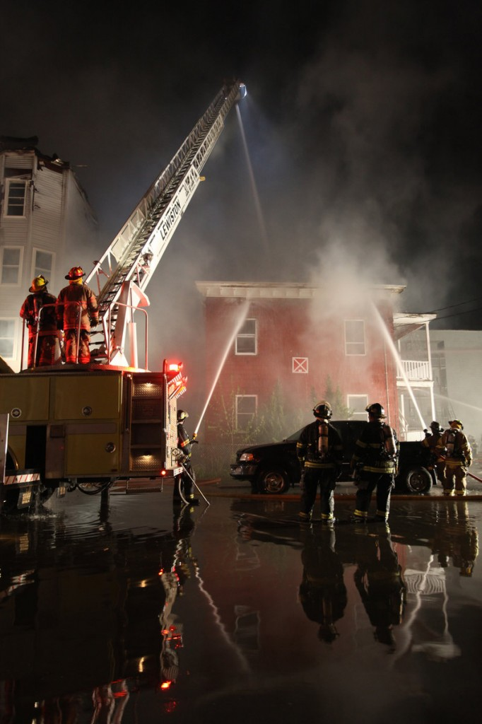 The scene Friday night was surreal as two buildings on Pierce Street and two more on Bartlett Street were ablaze. Smoke could be seen from miles away, and the night was lit in orange and red.