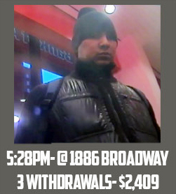 Image shows a man allegedly using fraudulent magnetic cards to steal money from a cash machine in Manhattan.