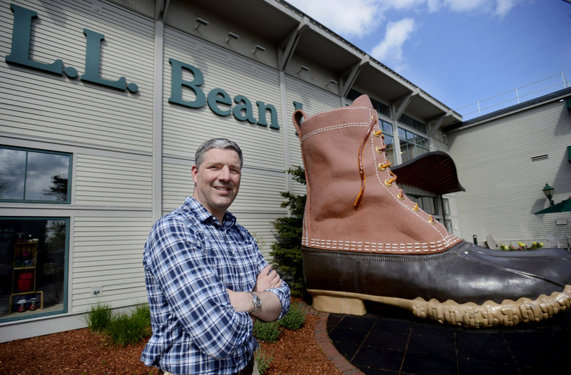 Shawn Gorman, the new chairman of L.L. Bean, poses at the flagship store in Freeport on Monday, May 20, 2013.