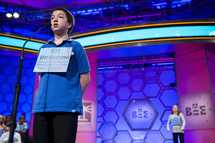 Brandon Aponte, 12, a seventh-grader at Downeast Home School Co-op in Ellsworth, Maine, competes in the preliminary rounds of the Scripps National Spelling Bee at the Gaylord National Resort and Convention Center in National Harbor, Md., on Wednesday.