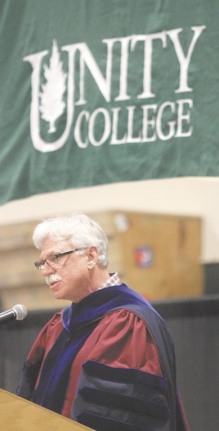 Unity College President Stephen Mulkey speaks at the college's 44th commencement exercises on Saturday in Unity.
