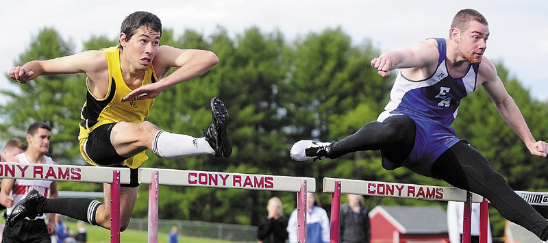 GUTTING IT OUT: Erskine Academy's Zac Lee, right, has fought an Achilles tendon injury throughout the indoor and outdoor track and field season. He ran a personal best 15.46 seconds in the 110-meter hurdles at the Kennebec Valley Athletic Conference Class B championships on Monday.
