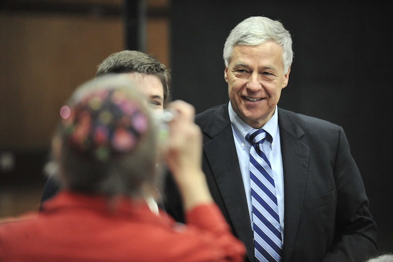 "In this October 2012 file photo, U.S. Rep. Mike Michaud, D-Maine, poses for a photo before a ""Get Out the Vote"" rally for Democratic candidates at the Lewiston Armory. Michaud moved closer Thursday to running for governor of Maine, launching an exploratory committee and a campaign-style website. Election 2010 Governor"