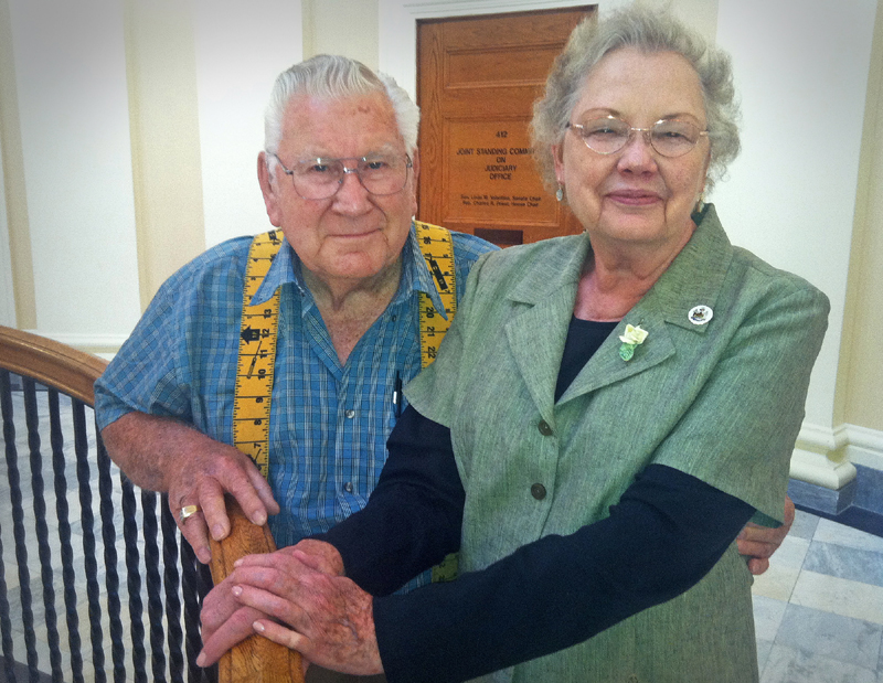Marcine Webb, 86, and his wife, Nita Lou Webb, from San Angelo, Texas, visit the Maine State House on Friday to celebrate their 65th wedding anniversary. Maine is the 50th state capital they have visited during their marriage. Their trip to Maine was an anniversary gift from their two daughters.